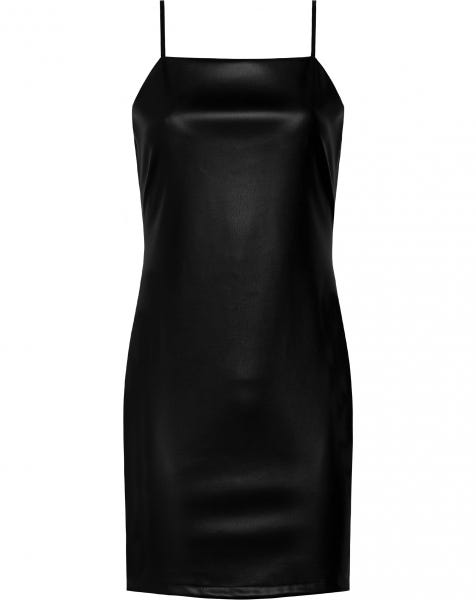 LEATHER SLIP DRESS BLACK