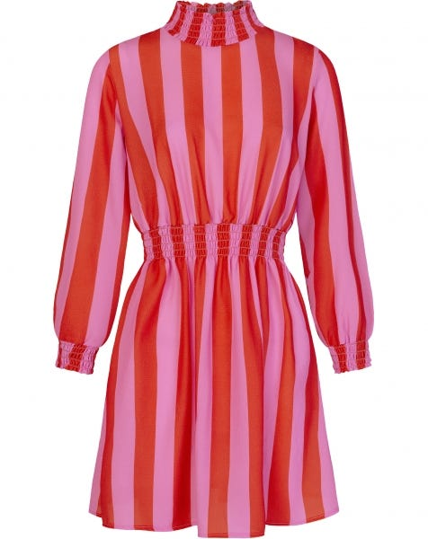 DENA STRIPE DRESS RED