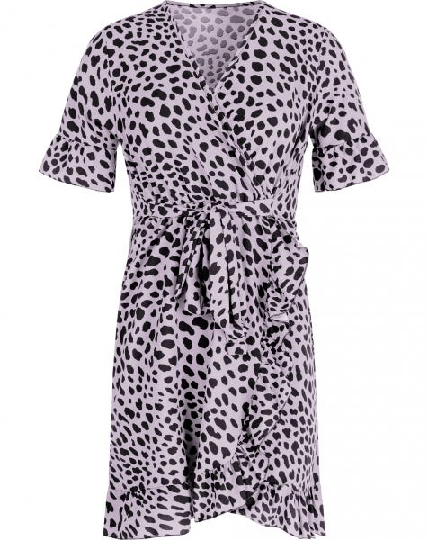 CHEETA WRAP DRESS LILA