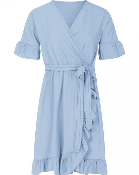 PLAIN WRAP DRESS BABYBLUE