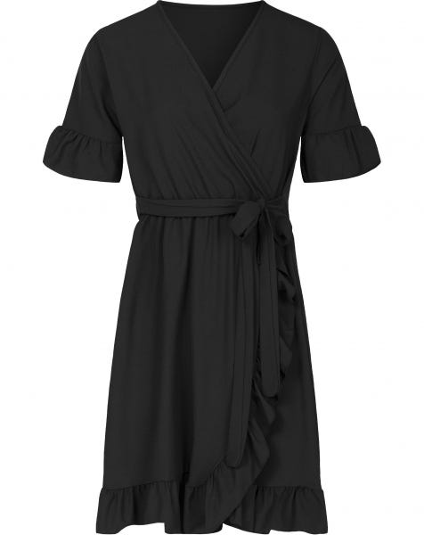 PLAIN WRAP DRESS BLACK