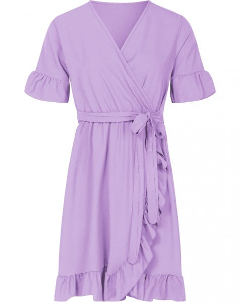 PLAIN WRAP DRESS LILA
