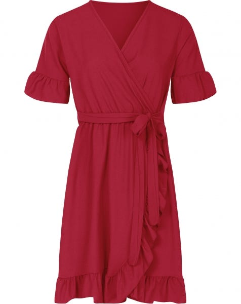 PLAIN WRAP DRESS RED