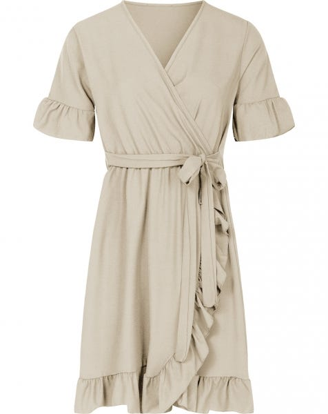 PLAIN WRAP DRESS SAND