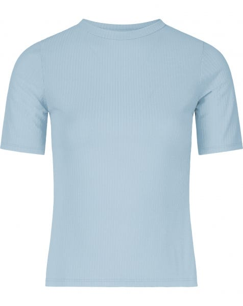 RIBBED COL TEE BLUE