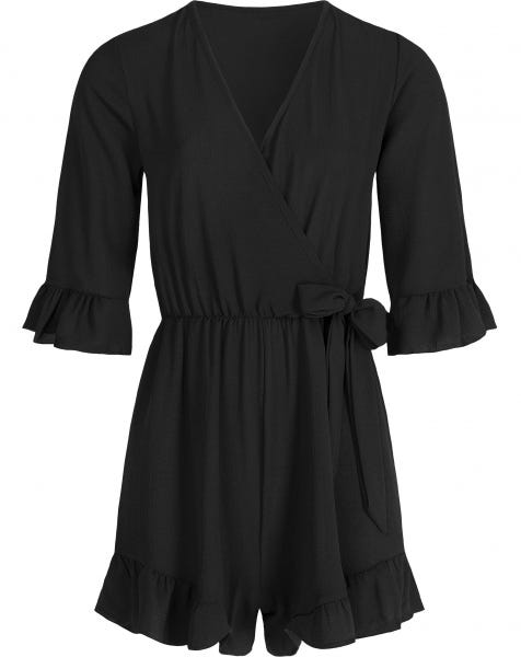 RUFFLE WRAP PLAYSUIT BLACK