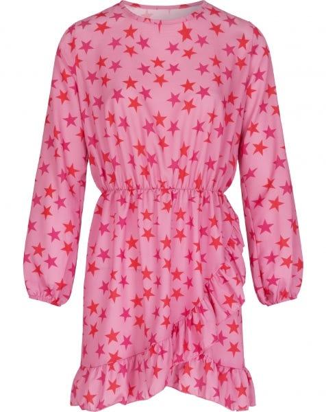 RUFFLE WRAP DRESS PINK STARS