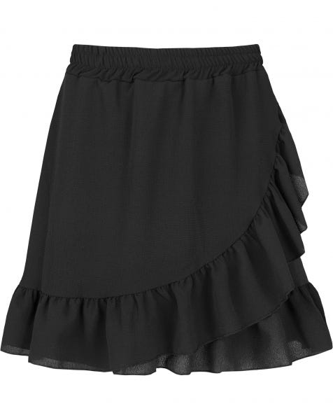 RUFFLE WRAP SKIRT BLACK