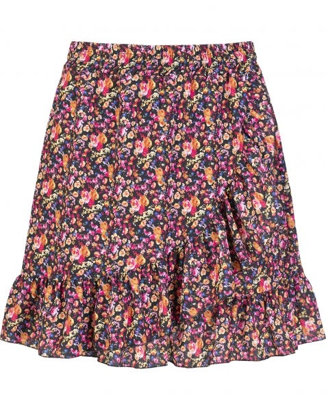 RUFFLE WRAP SKIRT FLOWERS