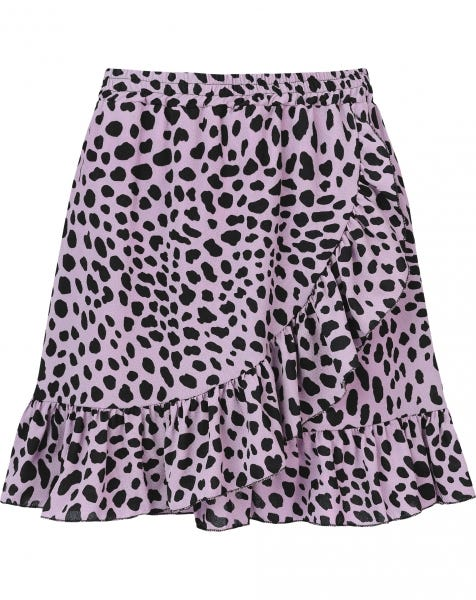 RUFFLE WRAP SKIRT CHEETA LILA