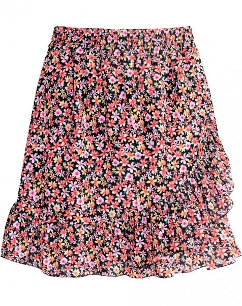 RUFFLE WRAP SKIRT FLOWERS PINK
