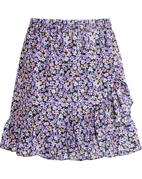 RUFFLE WRAP SKIRT FLOWERS PURPLE