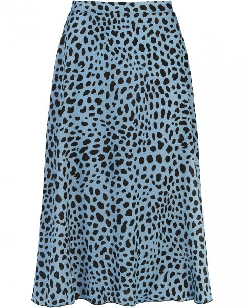 MIDI SKIRT SATIN CHEETA BABYBLUE