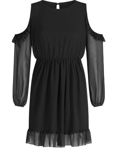 JAYA RUFFLE DRESS BLACK