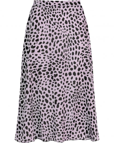 MIDI SKIRT SATIN CHEETA LILA