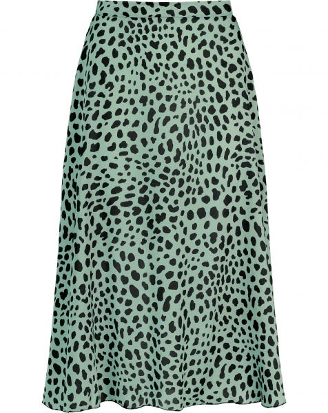 MIDI SKIRT SATIN CHEETA MINT