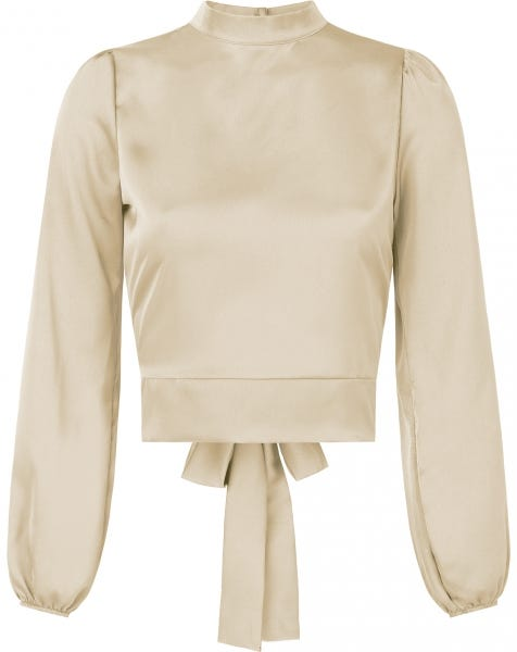 SATIN BOW TOP BEIGE