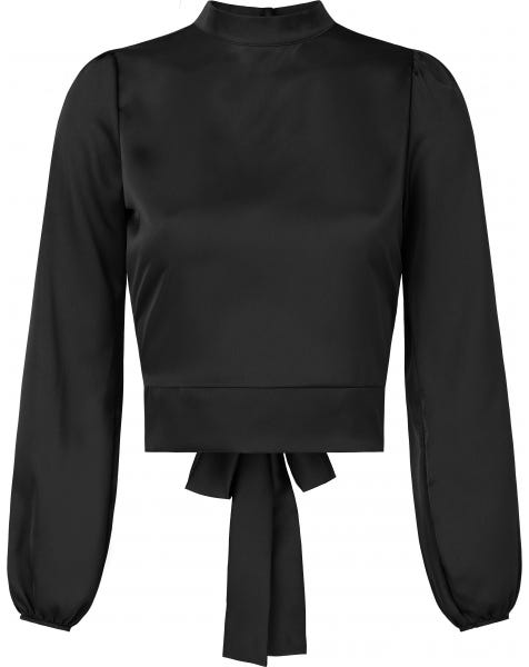 SATIN BOW TOP BLACK