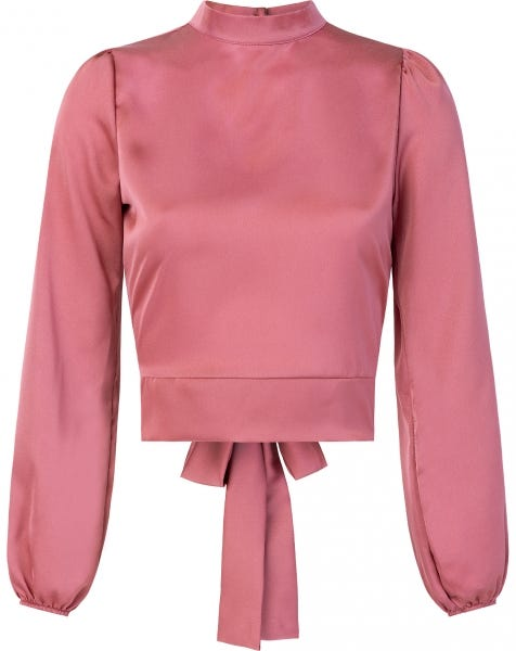 SATIN BOW TOP BLUSH