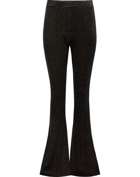 GOLDEN GLITTER STRIPE FLARED PANTS BLACK