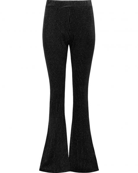 SILVER GLITTER STRIPE FLARED PANTS BLACK