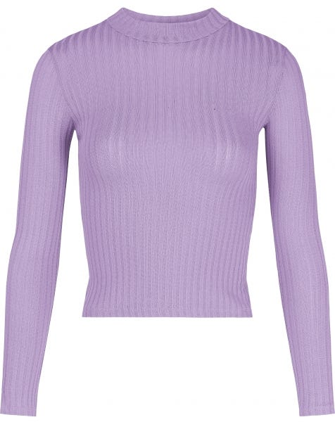 RIBBED COL TOP LILA
