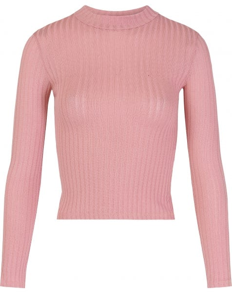 RIBBED COL TOP PINK