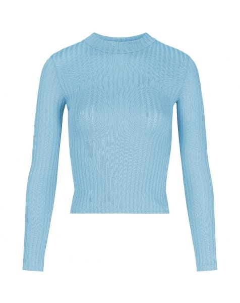 RIBBED COL TOP BLUE