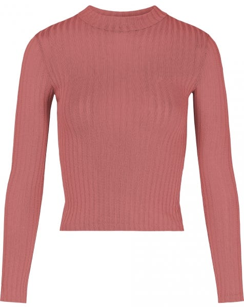 RIBBED COL TOP BLUSH