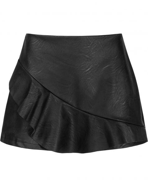 LEATHER RUFFLE SKORT