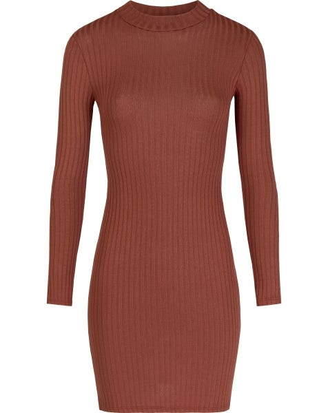 RIBBED COL DRESS RUST