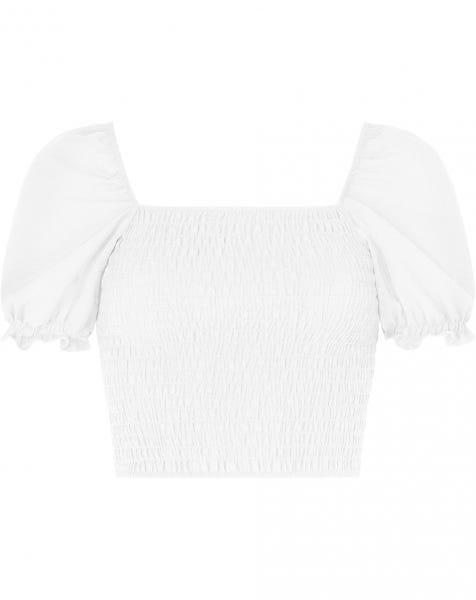 RUFFLE SMOCK TOP WHITE