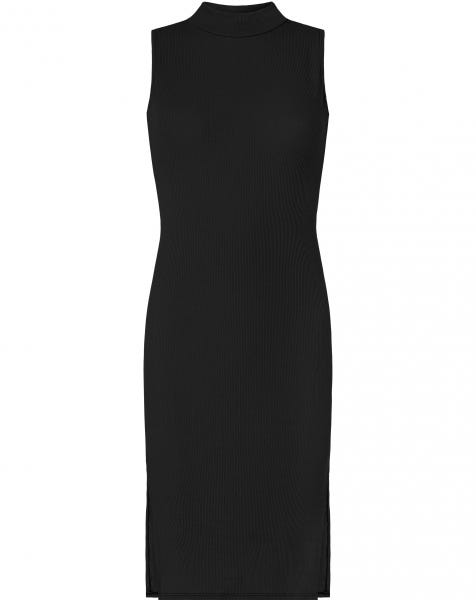 RIBBED SPLIT DRESS BLACK