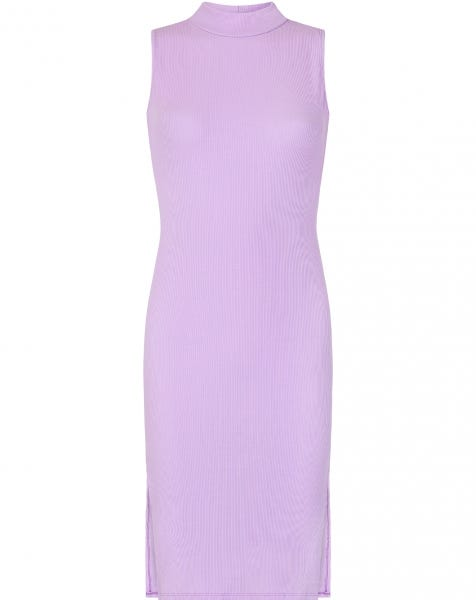 RIBBED SPLIT DRESS LILA
