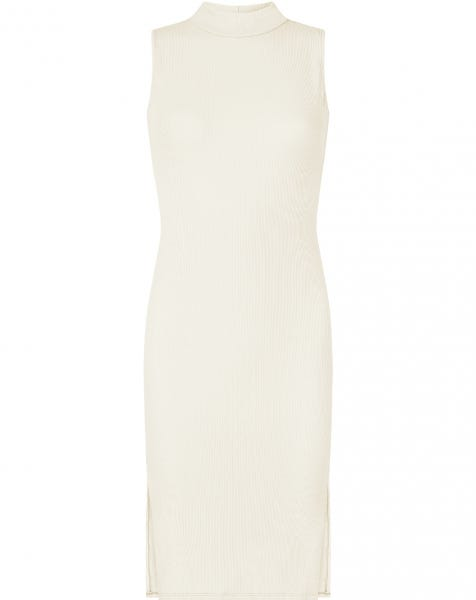 RIBBED SPLIT DRESS SAND