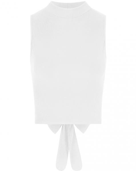 RIBBED TIE TOP WHITE