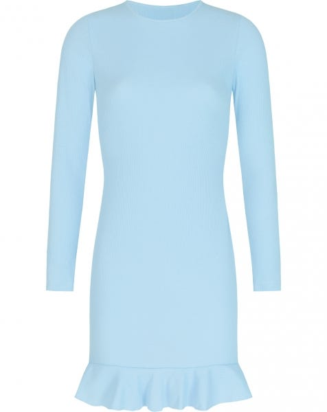 RIBBED RUFFLE DRESS BABYBLUE