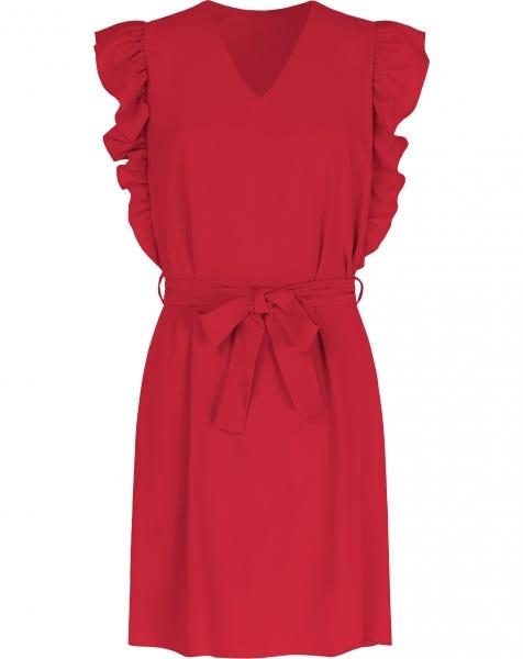 LIV RUFFLE DRESS RED