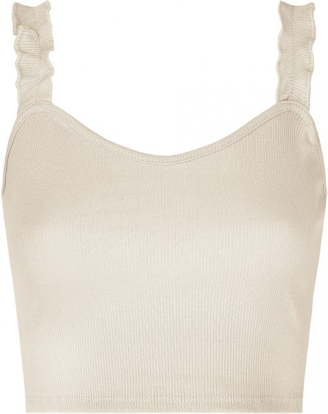 RUFFLE CROP TOP SAND