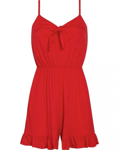 KNOT PLAYSUIT RED