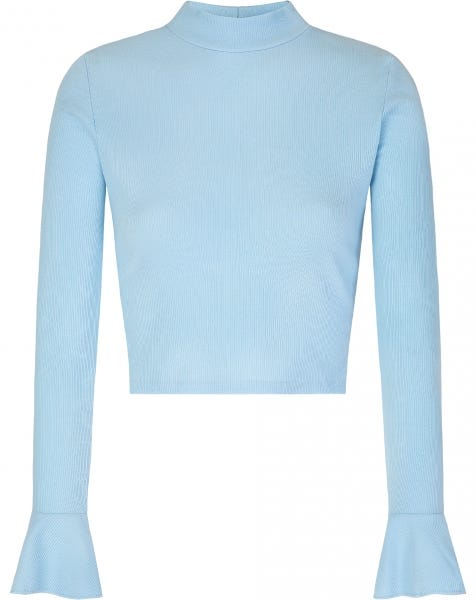 FLARED SLEEVES CROP TOP BABYBLUE