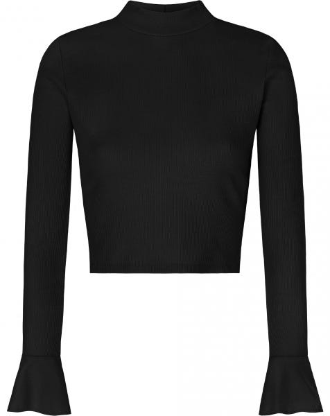 FLARED SLEEVES CROP TOP BLACK