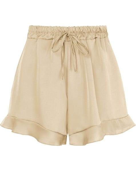 SATIN RUFFLE SHORT BEIGE