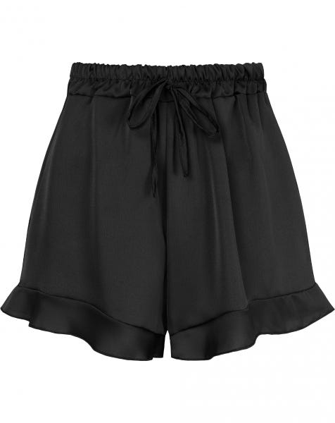 SATIN RUFFLE SHORT BLACK