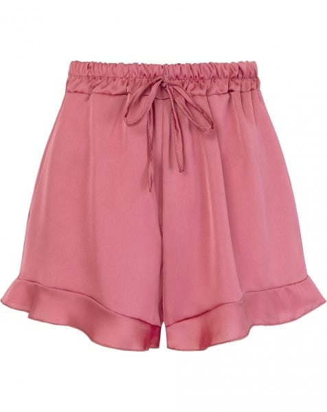 SATIN RUFFLE SHORT BLUSH