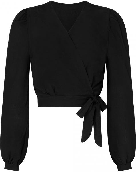 LONG SLEEVE WRAP TOP BLACK