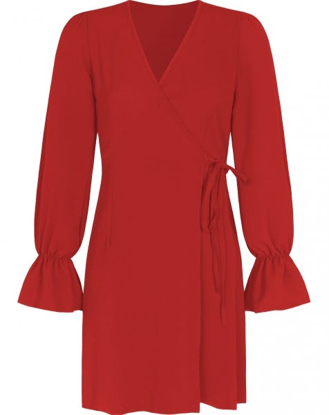 DOLLY WRAP DRESS RED