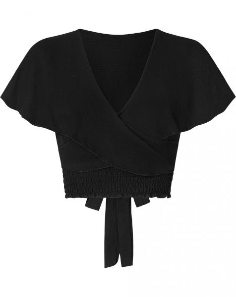 SMOCK WRAP TOP BLACK