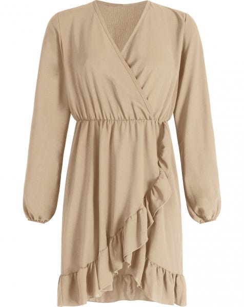 ROSE RUFFLE DRESS BEIGE