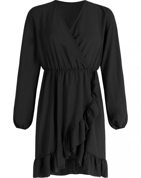 ROSE RUFFLE DRESS BLACK